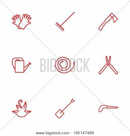 Set Of 9 Horticulture Outline Icons Set.Collection Of Firehose, Arm-Cutter, Safer Of Hand Elements.