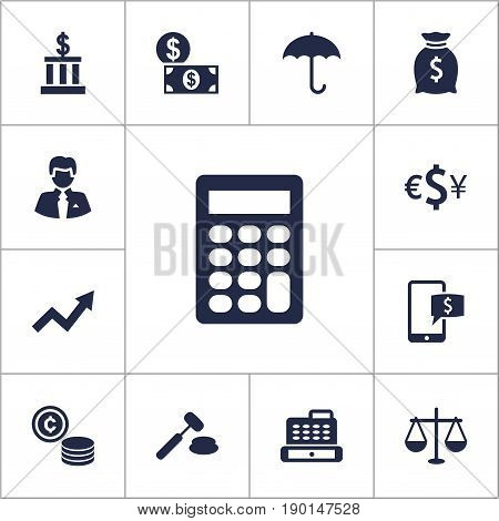 Set Of 13 Finance Icons Set.Collection Of Umbrella, Cashbox, Online Banking And Other Elements.
