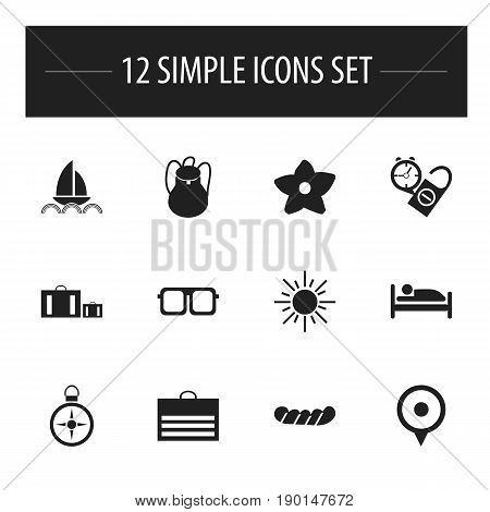 Set Of 12 Editable Journey Icons. Includes Symbols Such As Bloom, Yacht, Briefcase And More. Can Be Used For Web, Mobile, UI And Infographic Design.