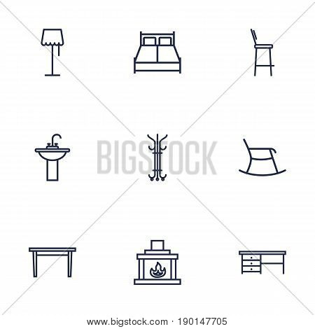 Set Of 9 Set Outline Icons Set.Collection Of Double Bed, Washbasin, Desk And Other Elements.