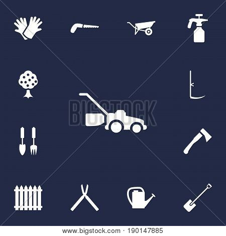 Set Of 13 Horticulture Icons Set.Collection Of Watering Can, Hacksaw, Spray Bootle And Other Elements.
