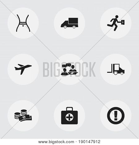 Set Of 9 Editable Mixed Icons. Includes Symbols Such As Van, First Aid Box, Dialogue And More. Can Be Used For Web, Mobile, UI And Infographic Design.