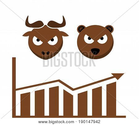 Forex market. Concept of Forex. Trading. Illustration. Brown overall. Graph. Chart. Bear. Bull. White background