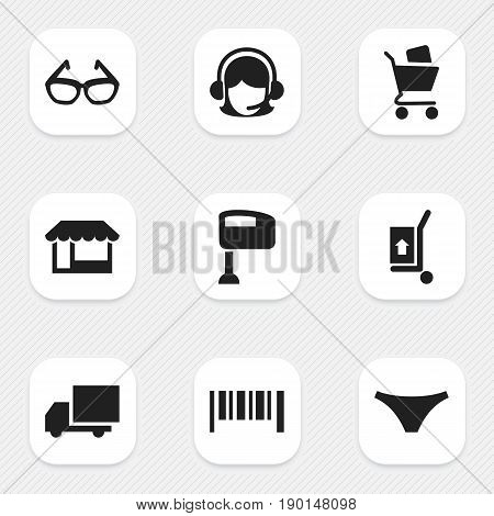 Set Of 9 Editable Trade Icons. Includes Symbols Such As Stir, Grocery, Freight Delivery And More. Can Be Used For Web, Mobile, UI And Infographic Design.