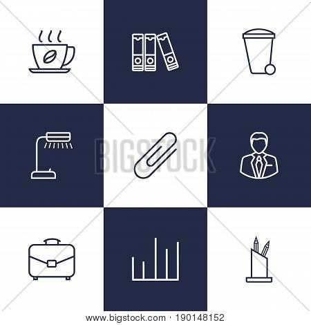 Set Of 9 Bureau Outline Icons Set.Collection Of Chart, Recycle Bin, Hot Drink And Other Elements.
