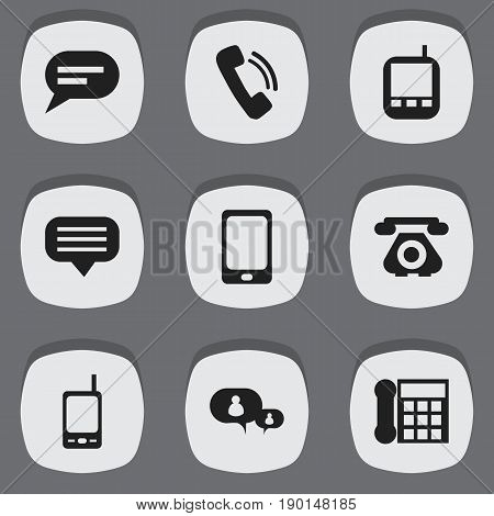 Set Of 9 Editable Gadget Icons. Includes Symbols Such As Transceiver, Smartphone, Comment And More. Can Be Used For Web, Mobile, UI And Infographic Design.