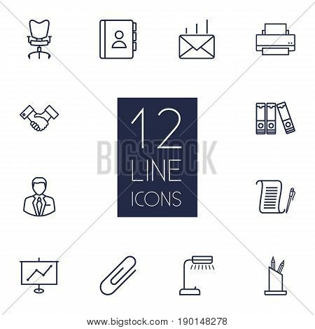 Set Of 12 Bureau Outline Icons Set.Collection Of Reading-Lamp, Pen Storage, Printing Machine And Other Elements.
