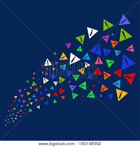 Fountain of warning icons. Vector illustration style is flat bright multicolored warning iconic symbols on a blue background. Object fountain organized from confetti design elements.