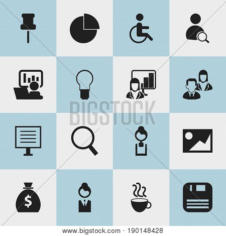 Set Of 16 Editable Bureau Icons. Includes Symbols Such As Light, Display, Handicapped. Can Be Used For Web, Mobile, UI And Infographic Design.