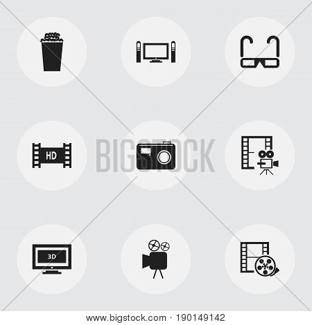 Set Of 9 Editable Cinema Icons. Includes Symbols Such As Widescreen, Film Spectacles, Cinematography And More. Can Be Used For Web, Mobile, UI And Infographic Design.