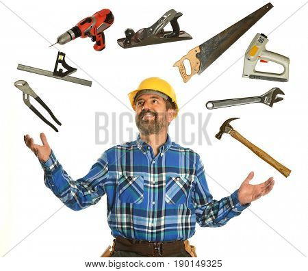 Confident worker juggling tools isolated over white background