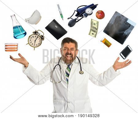 Doctor overwhelmed by multitasking isolated over white background