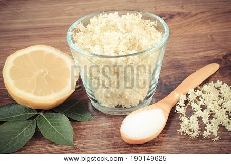 Vintage Photo, Elderberry Flowers And Ingredients For Preparing Juice On Board