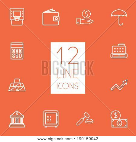 Set Of 12 Budget Outline Icons Set.Collection Of Protect, Auction, Dollar And Other Elements.