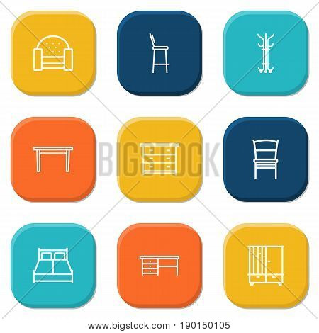 Set Of 9 Situation Outline Icons Set.Collection Of Desk, Drawer Unit, Table And Other Elements.