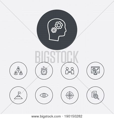 Set Of 9 Strategy Outline Icons Set.Collection Of Eye, Success, Partnership And Other Elements.