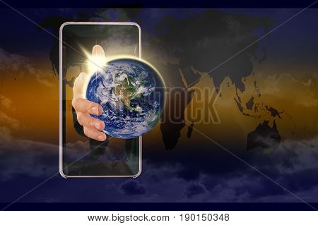 Global world in my hand. Power of your hand to change the world concept. Elements of this image furnished by NASA