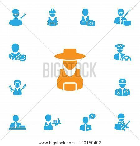 Set Of 13 Position Icons Set.Collection Of Working, Cameraman, Planner And Other Elements.