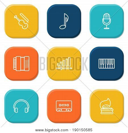 Set Of 9 Song Outline Icons Set.Collection Of Harmonica, Audio Level, Amplifier And Other Elements.