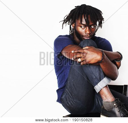 young handsome afro american man, angry look, weed junky isolated on white, problem teenage, depression greef