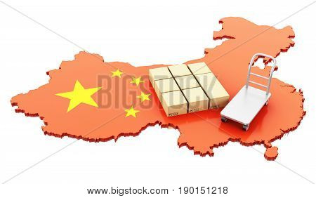 3D China Map With Cardboard Boxes And Hand Truck.
