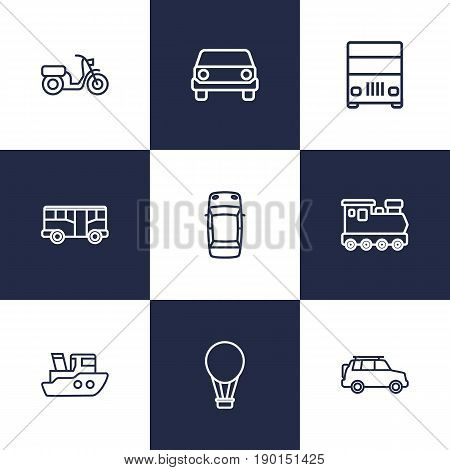 Set Of 9 Traffic Outline Icons Set.Collection Of Moped, Ship, Top And Other Elements.