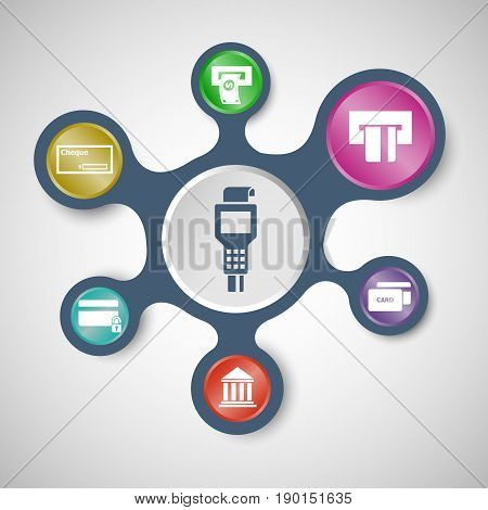 Payment infographic templates with connected metaballs, stock vector