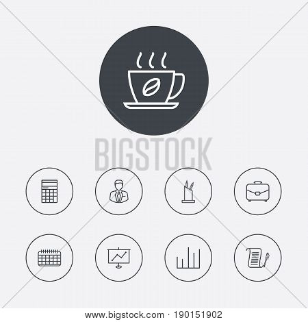Set Of 9 Bureau Outline Icons Set.Collection Of Counter, Date, Administrator And Other Elements.