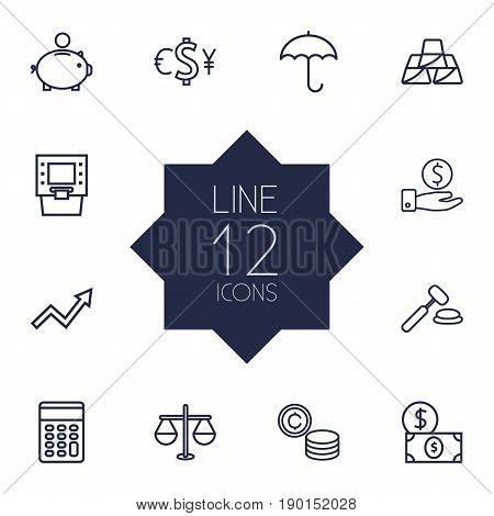 Set Of 12 Finance Outline Icons Set.Collection Of Savings, Golden Bars, Money Box And Other Elements.
