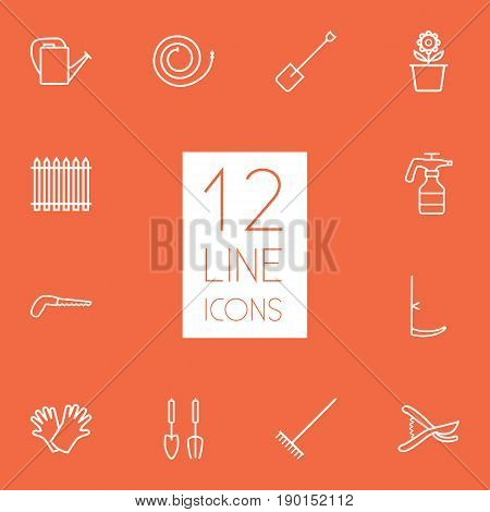 Set Of 12 Farm Outline Icons Set.Collection Of Scythe, Plant Pot, Harrow And Other Elements.