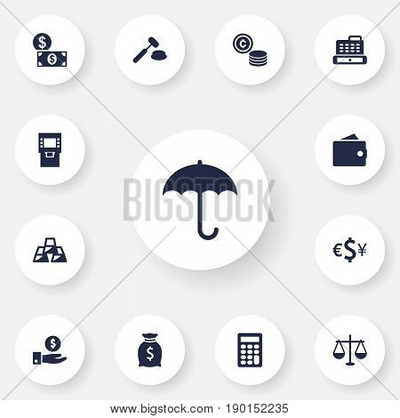 Set Of 13 Finance Icons Set.Collection Of Terminal, Money, Balance And Other Elements.
