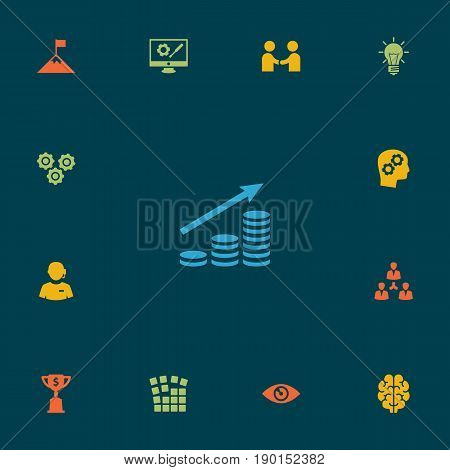 Set Of 13 Strategy Icons Set.Collection Of Vision, Unity, Goblet And Other Elements.