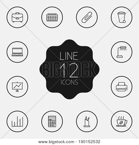 Set Of 12 Bureau Outline Icons Set.Collection Of Pen Storage, Chart, Hot Drink And Other Elements.