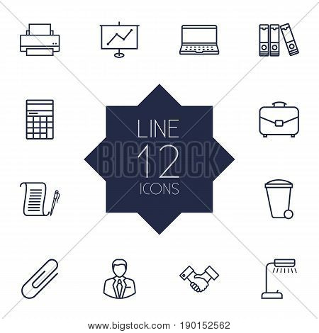 Set Of 12 Bureau Outline Icons Set.Collection Of Printing Machine, Recycle Bin, Fastener Paper And Other Elements.