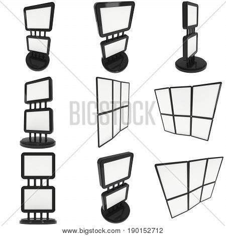 LCD Screen Double Stand. Blank Trade Show Booth Set. 3d render of lcd screen isolated on white background. High Resolution. Ad template for your expo design.