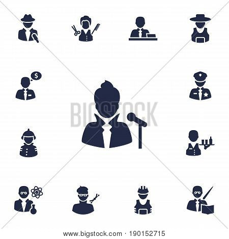 Set Of 13 Position Icons Set.Collection Of Working, Money Agent, Rancher And Other Elements.