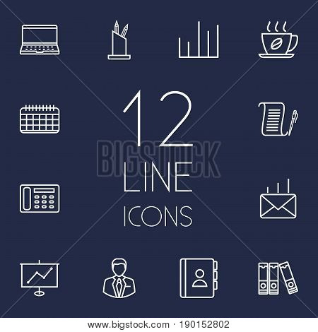 Set Of 12 Bureau Outline Icons Set.Collection Of Post, Telephone Directory, Contacts And Other Elements.