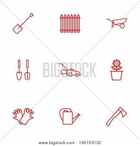 Set Of 9 Household Outline Icons Set.Collection Of Grass-Cutter, Palisade, Bailer And Other Elements.