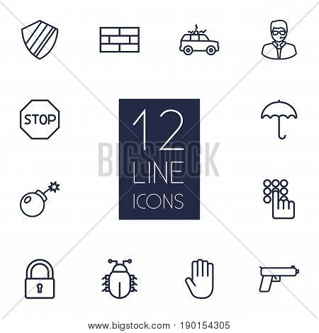 Set Of 12 Procuring Outline Icons Set.Collection Of Protection , Hand , Siren Elements.