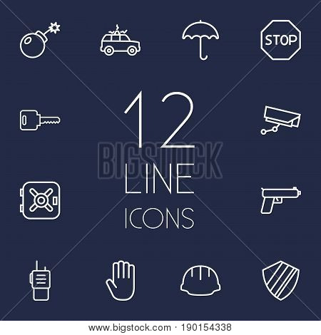 Set Of 12 Procuring Outline Icons Set.Collection Of Parasol, Worker, Dynamite And Other Elements.