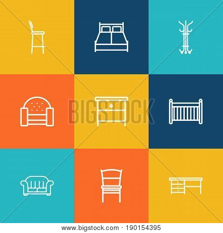 Set Of 9 Set Outline Icons Set.Collection Of Double Bed, Armchair, Crib And Other Elements.