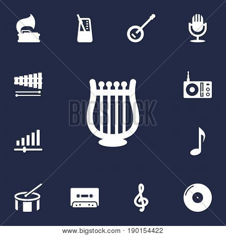Set Of 13 Song Icons Set.Collection Of Tape, Percussion, Quaver And Other Elements.