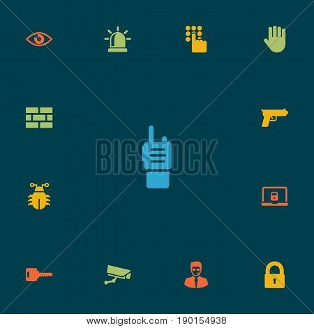 Set Of 13 Procuring Icons Set.Collection Of Virus, Security Man, Camera And Other Elements.