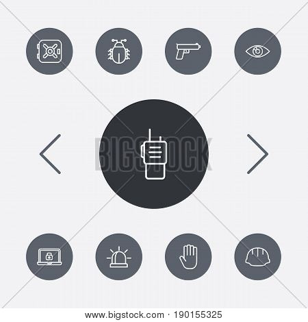 Set Of 9 Security Outline Icons Set.Collection Of Hand , Lock , Worker Elements.