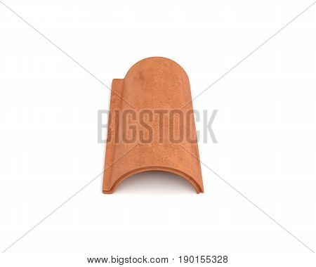 3d rendering of a single terracotta barrel roof tile lying in front view isolated on white background. Roof building. Construction supplies. Traditional building materials.