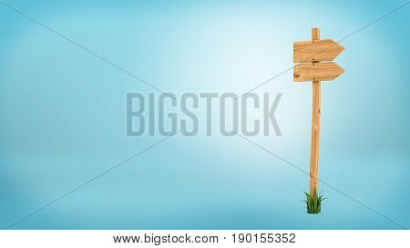 3d rendering of a wooden pole with some grass on it's base and two blank arrows on the top. Directional signs. Outdoor advertisement. Signposts and arrows.