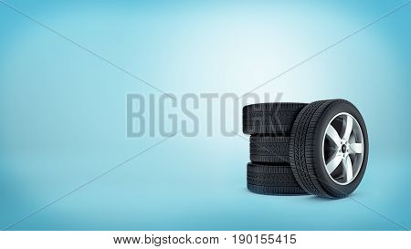 3d rendering of a three car tires stacked on each other and a forth tire leaning on them on blue background. Car repair. Seasonal tires. Spare parts.