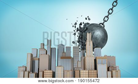 3d rendering of a large wrecking ball falling at a small downtown model while crashing itself on blue background. Demolition works. Destruction for future development. Business center construction.