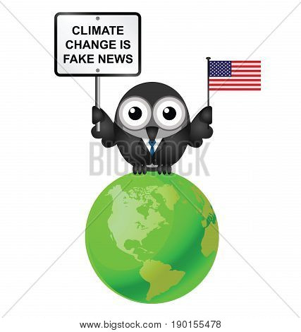 Comical American climate change denial after pulling out of the Paris  Agreement isolated on white background