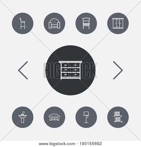 Set Of 9 Decor Outline Icons Set.Collection Of Chair, Bar Stool, Closet And Other Elements.
